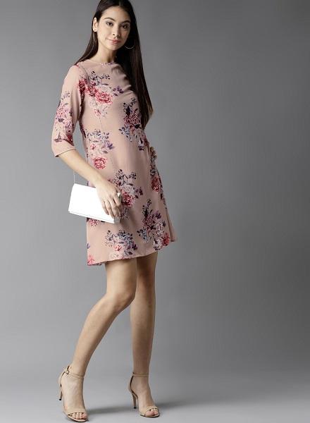 Pink A-Line Floral Dress