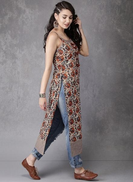 Printed Kurta with jeans