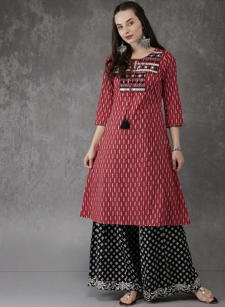 Red Mirror Work Kurti