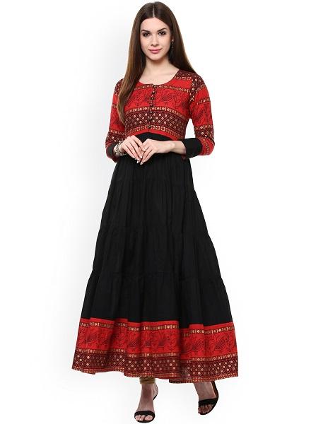 Red black Anarkali kurta