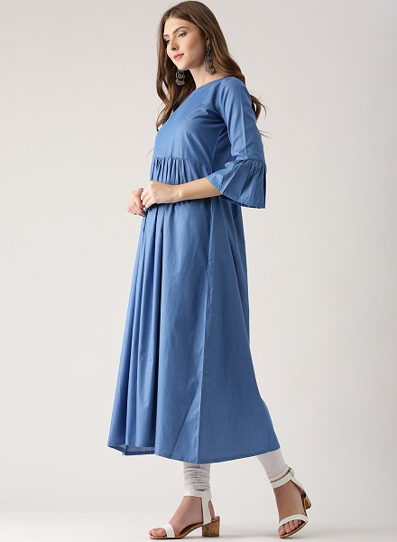 Ruffle sleeves denim kurt design