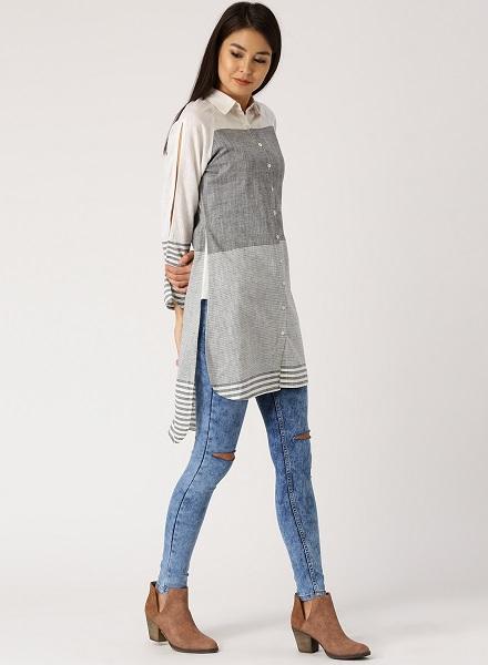 Shirt Style kurtas with jeans