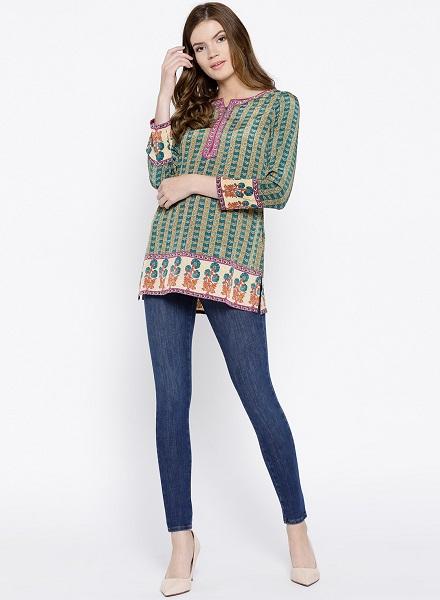 Short Kurta with jeans