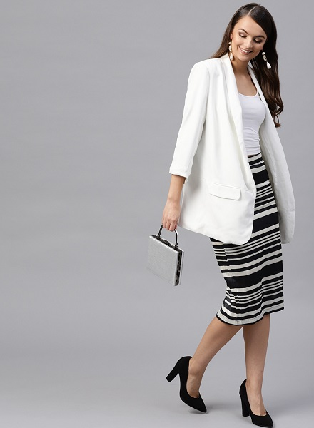 Striped formal skirt