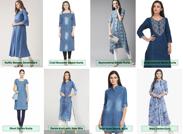 Different Types Of Denim Kurti Designs for Women with Online Price