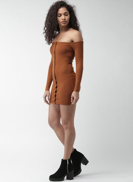Brown Off-Shoulder
