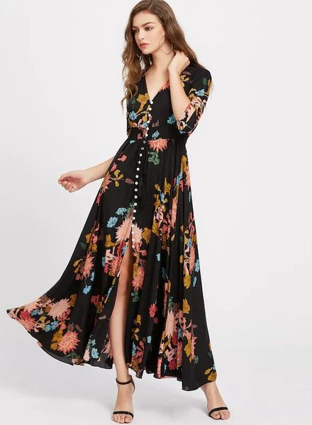 Buttoned-Up Gown Dress