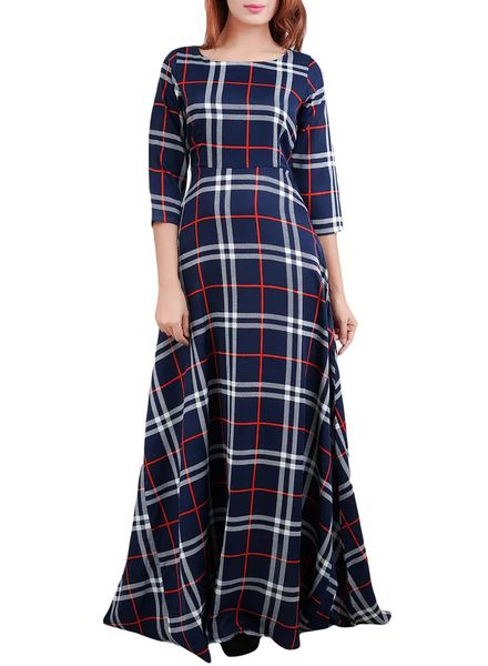Checked Cotton Gown Dress