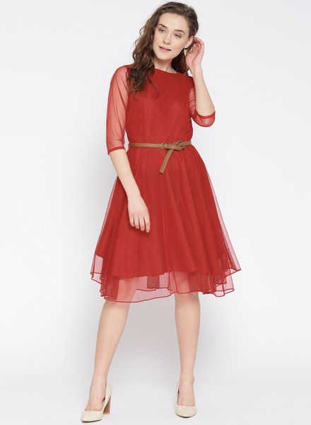 Flared Net Dress