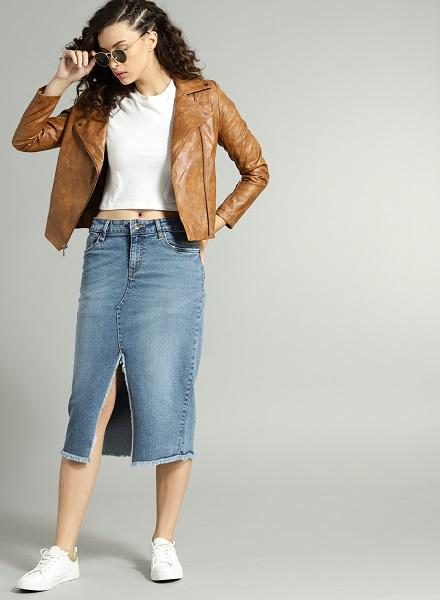 The Knee-Length Denim Skirt