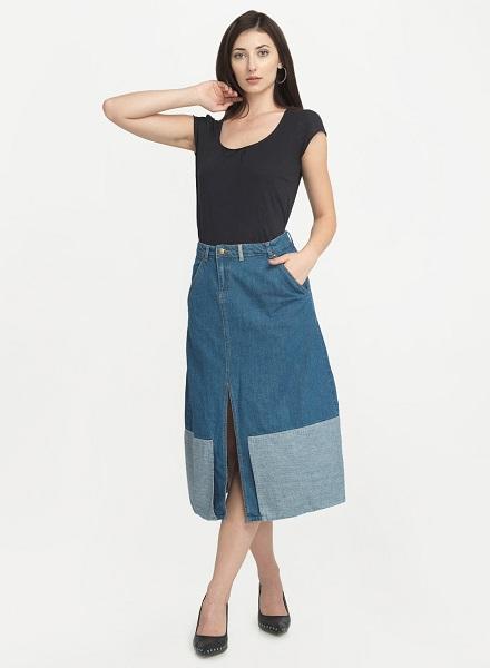 The Denim Midi Skirt with Middle Slit