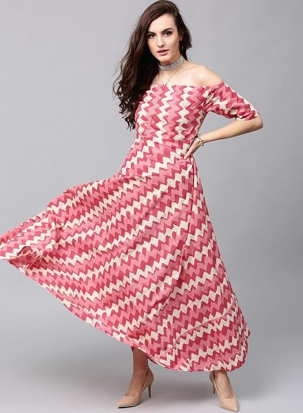 Off Shoulder Indo Western Kurti Design