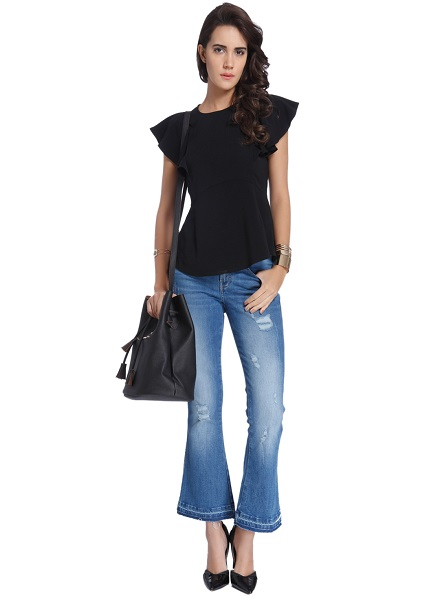 Peplum Top with Ripped or Faded Jeans