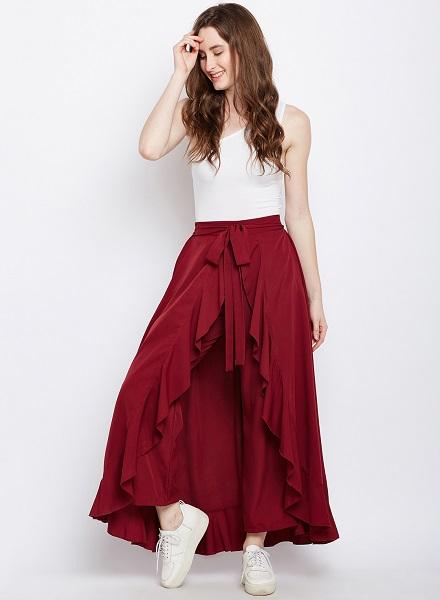 ruffled long skirt