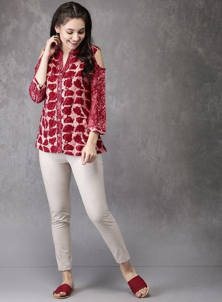 Cold-Shouldered Straight Kurtis
