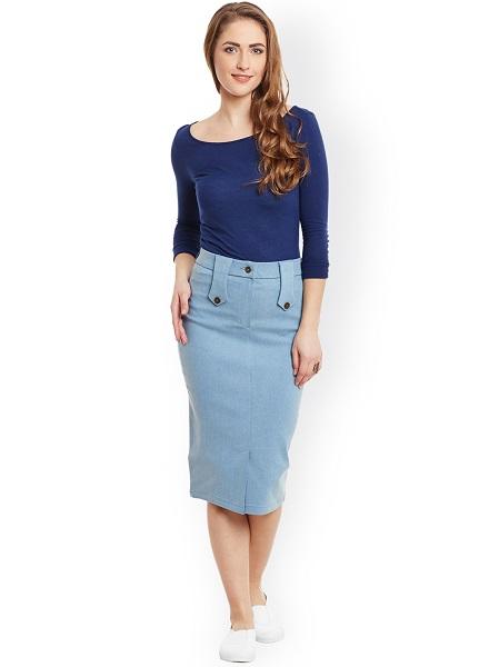 The Straight Denim Skirt