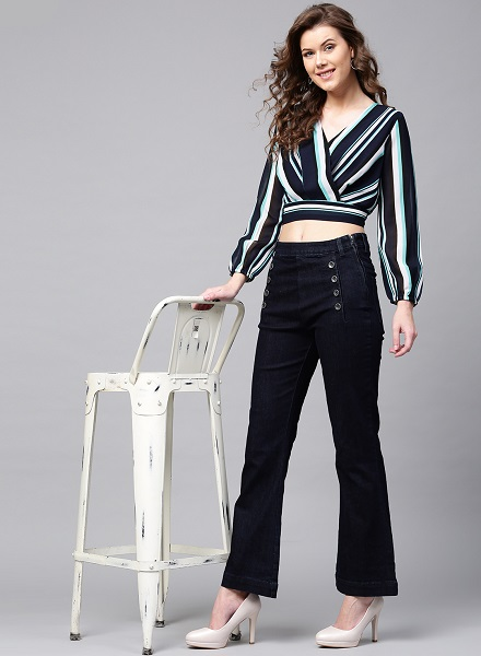Wrap Top with High Waist Pants