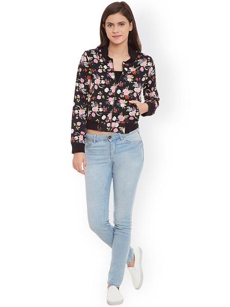 Digital Floral Bomber Jacket