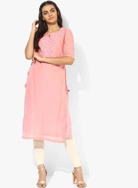 Embellished Powder Pink Biba Kurti