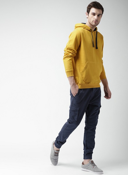 Bright Elbow Patched Pullover Hoodie