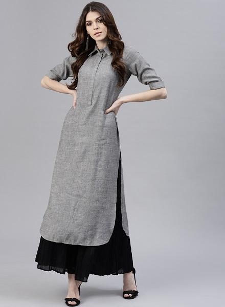 Ankle-Length Grey Pathani Kurta