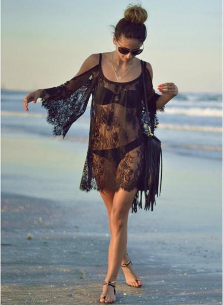 Embroidered Beach Black Dress