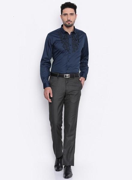 Ethnic Motif Blue Shirt