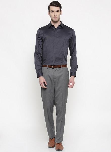 Self Design Grey Shirt