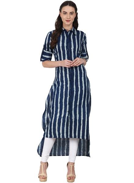 Striped Hi-Low Pathani Kurta