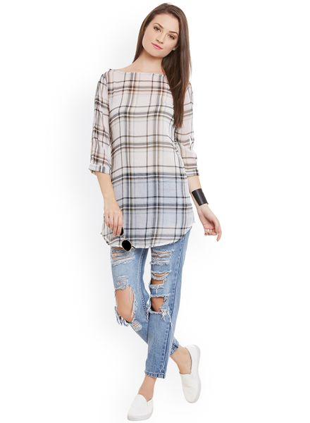 Vintage Checked Tunic Top