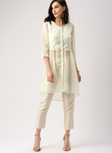 Muted Off-White Tunic Top