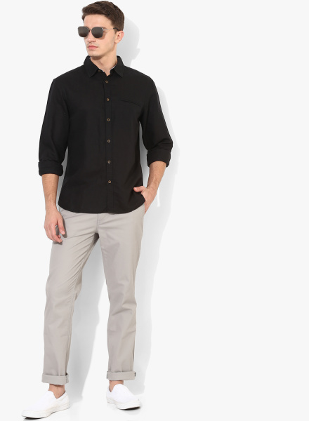 Classic Black Shirt with Jeans