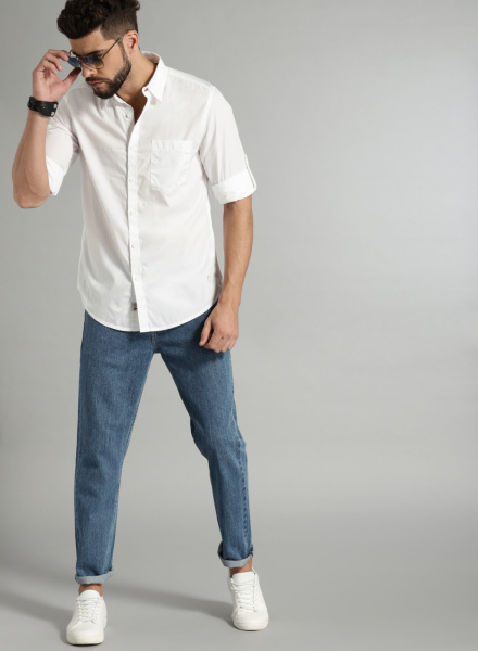 Classic White Shirt with Jeans