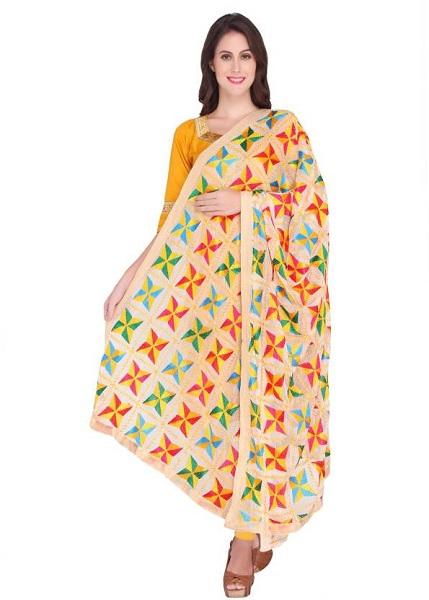 Multicoloured Embroidered Phulkari Dupatta