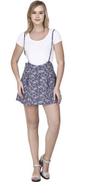 Printed Dungaree Skirt