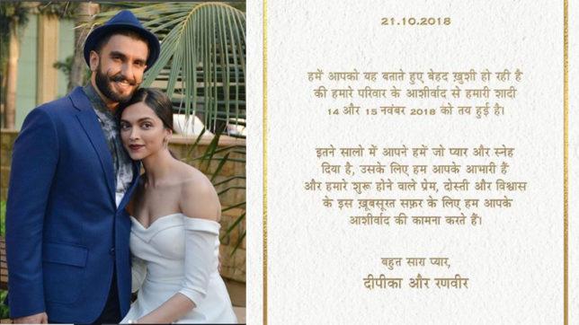 Deepika Padukone and Ranveer Singh Wedding Date