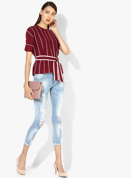 Ripped Jeans with formal blouse