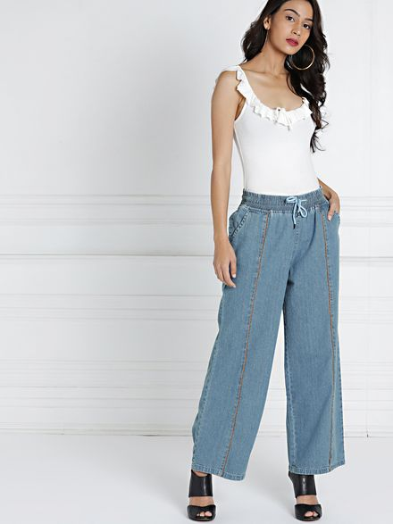 Elasticated Low-Rise Flare Jeans