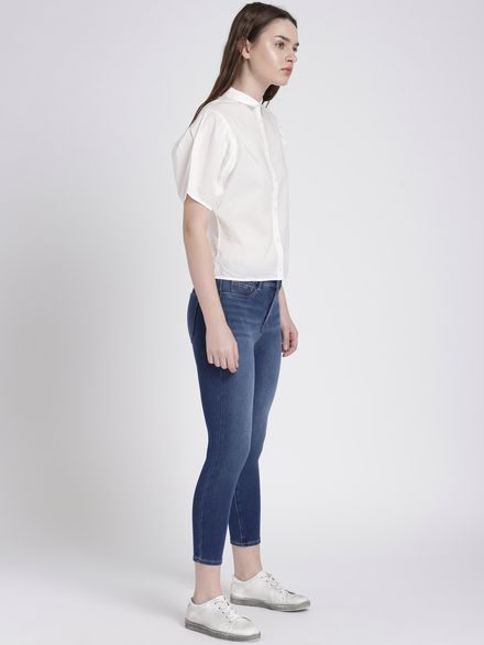 Denim Jeggings with Classic White Shirt
