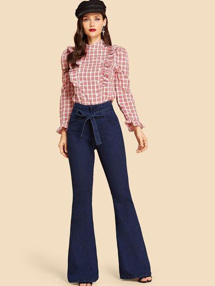 Tie Waist Flare Jeans