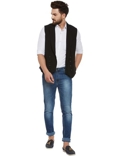 How to Wear Double Breasted Waistcoat with Jeans