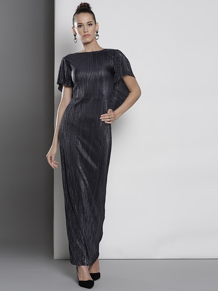 Navy Blue Solid Shimmery Dress