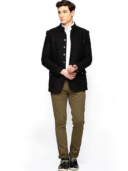 Black Wool Blend Coat For Men