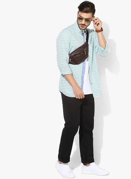 Green Striped Regular Fit Casual Shirt