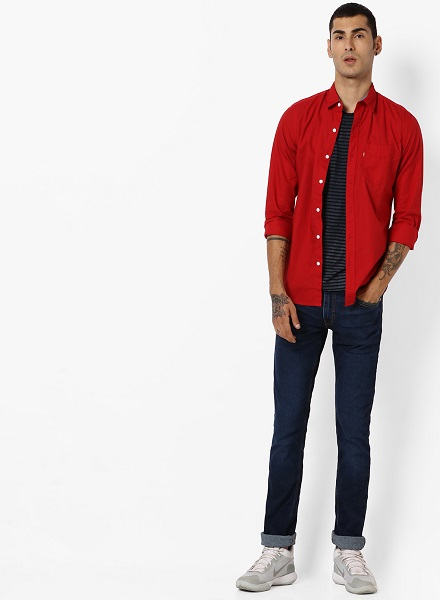 Red Slim Fit Cotton Shirt