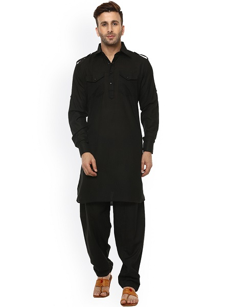 black solid pathani kurta