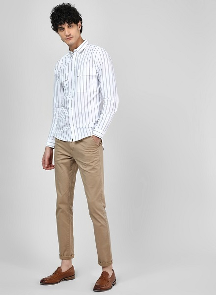 Striped Shirt with High-Low Hem