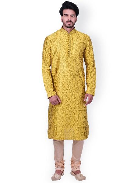 Yellow and Beige Self-Design Kurta Set