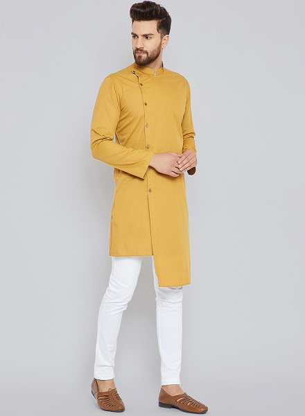 Solid Mustard Kurta with Trousers