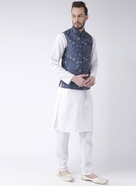 Plain White Kurta Pajama With Printed Jacket
